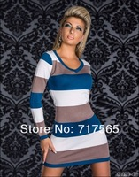 Женское платье Mini dress Sexy skirt New Stylish hot fashion long sleeve stretch stripped sexy dress, Autumn club wear, one size N095