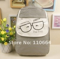 Рюкзак HD8004 Black-white stripes Lovely Little Glasses Canvas Backpack