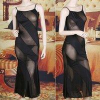 Сексуальная ночная сорочка Black Sexy See-through Lingerie Nightgown Sleepwear Long Dress + G-string