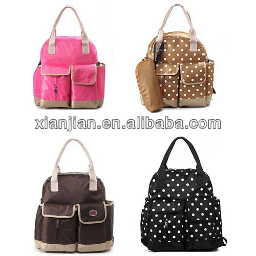 Multifunctional Black Polka Dot 3 Sets Diaper Backpack/Shoulder/Tote Bag for Kids (BLZ2587)