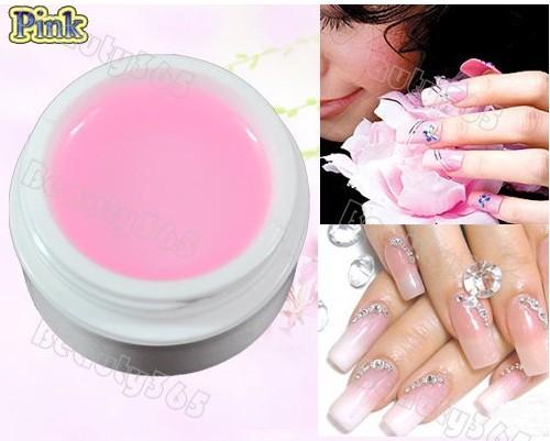 Наращивание ногтей розовый гель