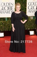 70th Gloden Globe Awards Night Famous Star Adele High Neck Black Celebrity Evening Dress With 3/4 Sleeves Free Shipping