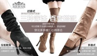 KVOLL fashion thick crust waterproof multi through knee high-heeled boots women's boots P137 euro size 34-39