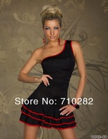 Женское платье 2013 NEW unsymmetric one sleeves falbala sexy dress mini club dress fashion design Y094