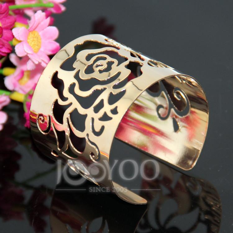 2016 Flower Hollow Pattern Gold Bracelet Rose Flower Cuff Bracelets&Bangles Fashion Bracelets Jewelry 8402
