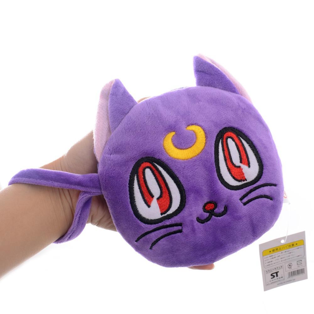 Lovely Luna Cat Coin Purse Plush Purple Sailor Moon Pretty Cat Girls Mini Lanyard Wallet Bag Pouch 6*6\'\' New Free Shipping