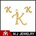 Letra K pingente de ouro e brinco conjuntos de jóias