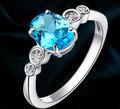 joyas volcán, anillo de topacio, 925 plata platino naturales topacio anillo SR0488B