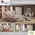 De estilo europeo de madera maciza talla( cama de cuero) antiguo hotel muebles del dormitorio