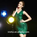jade verde impreso cuello en v vestido de noche la mujer madura sexy mini vestido