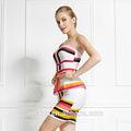 strapless colorido plus size vestido de coquetel