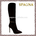 negro de la pu de alta de la rodilla botas de tacón alto damas botas de diseñador de botas de goma de venta al por mayor