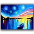 pintado a mano barco abstracta pinturas al óleo