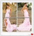 El último de la moda de lujo de color rosa un- línea de novia de la capilla de tren de flores falda de organza de novia vestido
