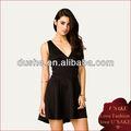 2013 profundo v- cuello negro de la moda elegante vestido de las mujeres