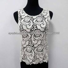 El último diseño 100% algodón Crochet mujeres ropa blusas en blonda elegantes