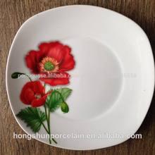 Branco quadrado prato/prato de porcelana
