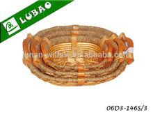 barato hecho a mano oval plana fruta seca de la bandeja de mimbre