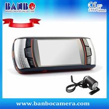 Grabadora de conducción de alta calidad, equipado con la lente dual del dvr del coche con Samsung cámara