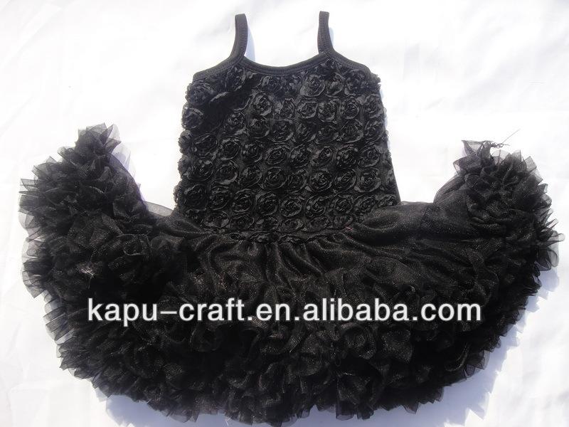 bebê de um ano de vestidos de festa preto roseta chffion vestidos