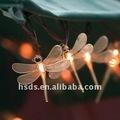 duradero el uso al aire libre libélula decorativos luz de la secuencia
