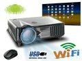Imagen clara LED Proyector construido en Android Wifi Vídeo Proyectores HDMI VGA USB SD para el asunto de la oficina de DVD