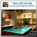 o mais novo estilo de fusão de vidro cozinha bancada com pia
