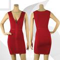 2014 caliente del vestido del vendaje oscuro y rojo de la rosa con cuello en V sexy girl foto HL349