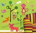 cartoon crianças quarto decoração 3d adesivos de parede
