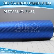 De alta calidad del coche pegatina 3d de fibra de carbono metálico de vinilo auto-adhesivo de la película
