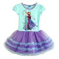 2014 caliente la venta de niños congelado vestido de ropa de bebé niñas manga corta romance vestido de princesa 6371