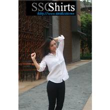 2014 100% de moda casual blusa de lino para frente a corto y largo blusa de la parte posterior