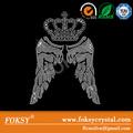 corona alas de ángel y hierro al por mayor- en rhinestone transferencia