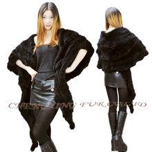 Señoras cx-b-48b genuino mantón de conejo de piel real del cabo