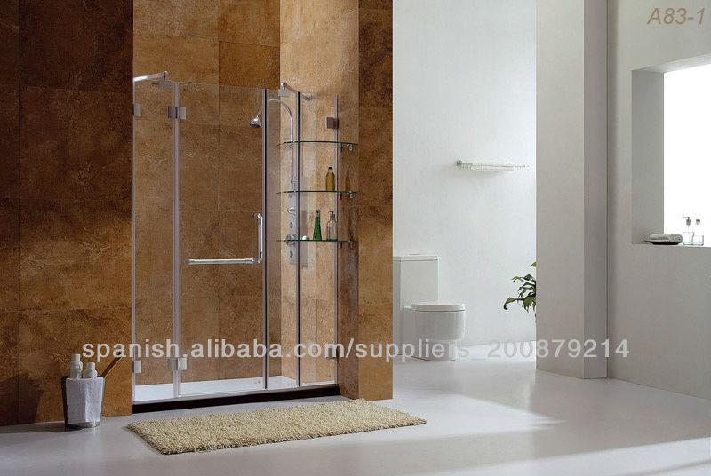 Tres paneles sin marco puerta de la ducha con bisagras con - Estante para ducha ...