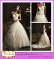vestido de novia de piso- longitud sin mangas con cuentas de tul de barrido de cristal adornado vestido de novia( hs097)