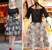 Las mujeres de nueva sexy de la moda flor de impresión t- shirt + falda 2 pieza conjunto