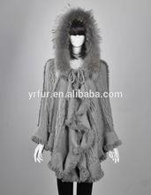 Genuino de calidad de las señoras de conejo& perro mapache poncho de piel con capucha/capa caída