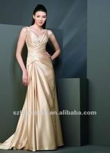 Elegante pura de la columna de la correa de cuentas v - cuello de satén brillante de diseño plisado vestido de una pieza