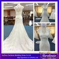 Haute Qualité Belle Blanc Gaine col en V manches Cap Keyhole Retour Appliqued train chapelle robes de mariée turque (AB0351)