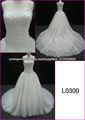 2014 Guangzhou strapless conto de fadas de tule francês vestidos de casamento bola de renda com espartilho / longo L0300 trem