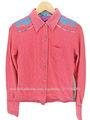 Corea de las mujeres de moda las camisas de la blusa del bordado