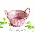 de color rosa mini ronda canasta de mimbre con asa fuente de la fábrica para venta al por mayor