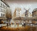 una buena calidad moderna de parís calle pintura al óleo lienzo
