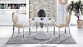 Sala de jantar mobiliário elegante açoinoxidável tampo de mármore redonda mesa de jantar e cadeiras( ct- 806# cy- 610)