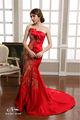 2014 longitud strapless piso sirena phoenix patrones de color rojo vestido de noche