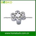 Fluxo de cristal do punho puxadores para móveis e puxadores em zamac com cristal