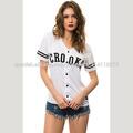 Moda camisetas de béisbol de encargo baratas para las mujeres