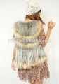 Nuevo estilo de llegada la mujer real conejo de tejer a mano chaleco de piel de/chaleco de piel de la mujer
