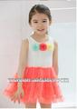 el último de la moda flor blanca 2014 vestido de verano para las niñas y ropa de niño